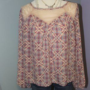 Xhilaration Pink Floral Long Sleeve Blouse Small